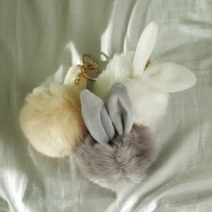 Accessories - Pom Pom Faux Fur Rabbit Keychain Clip - FREE W/